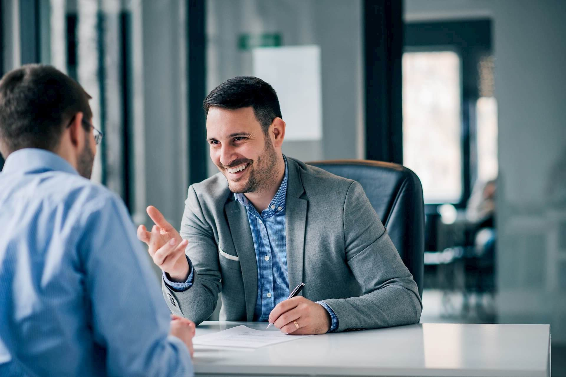 two men having a meeting